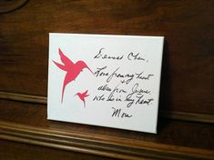 ACTUAL HANDWRITING on Canvas  Memorial Mother to Child