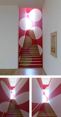 Illusion o.O stairs hot pink circles decorate stairwell