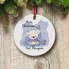 Personalised My First Christmas Teddy Round Ceramic Decoration