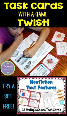 FREE task cards that focus on Nonfiction Text Features!