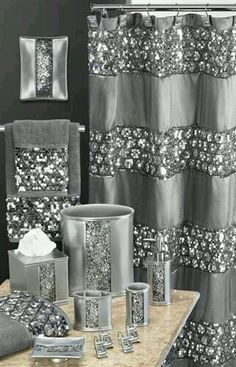 Design Complements Any Contemporary Decor A Bands Of Silver Sequins Placed Upon Metallic Shower Curtain This Is Beautiful Chic Fun