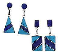 Turquoise & Lapis Striped Sterling Earrings at The Hunger Site