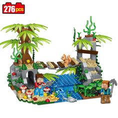 276pcs my World Series village suspension bridge Model Building Blocks Compatible legoed Children Minecrafted brick toys for kid #Affiliate