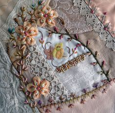 Crazy quilting Archives - Page 28 of 67 - Pintangle Crazy Quilting, Crazy Quilt Stitches, Crazy Quilt Blocks, Crazy Patchwork, Patch Quilt, Silk Ribbon Embroidery, Embroidery Stitches, Embroidery Patterns, Hand Embroidery
