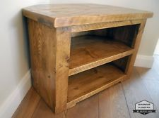 Rustic Pine Corner Tv Unit Solid Chunky Wood Stand Cabinet With