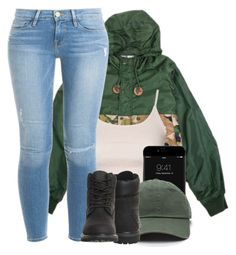 """FML"" by l-ondonbridge ❤ liked on Polyvore featuring Topshop, Timberland and Frame Denim"