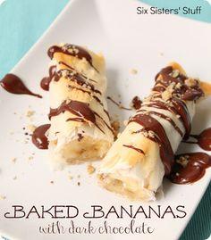 Baked Bananas with Dark Chocolate Recipe on MyRecipeMagic.com