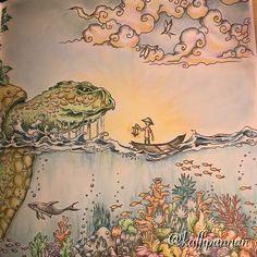 #mythomorphia #kerbyrosanes #aspidochelone #fabercastellpolychromos #panpastel #posca #adultcoloring #adultcoloringbook #målarbokförvuxna #målarböckerförvuxna #mindfulness