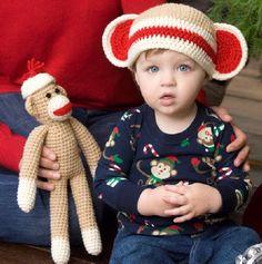Red Heart® Sock Monkey & Hat  #crochet #pattern #sockmonkey