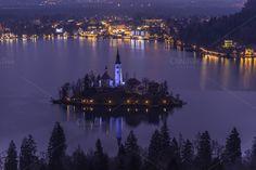 Beautiful #nightscape of Bled Island.
