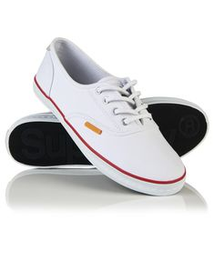 Superdry women's Tokyo Super Lite trainers. These low-pro trainers feature a lace fastening, a Superdry logo tab on the upper and are finished with a Superdry logo on the underside of the sole. White Lace Shoes, Lace Sneakers, Superdry, Trainers, Tokyo, Vans, Shoe Bag, Boots, Shopping