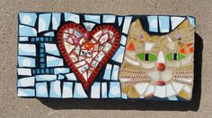 I LOVE CATS  8 x 15 stepping stone.  Lisa