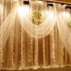 EXCELVAN warm white LED curtain string light waterproof LEDs that build a romantic festival atmosphere. The curtain light string lights in total, and each light LEDs. Fairy Light Curtain, Led Curtain Lights, Icicle Lights, Led String Lights, Light String, Star Lights, Backdrop Lights, Backdrop Decor, Twinkle Lights