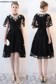20% OFF, Homecoming Dresses Gorgeous Black Lace High Low Homecoming Dress Vneck #BLS86035 at GemGrace. View more special Special Occasion Dresses,Homecoming Dresses,Cheap Homecoming Dresses,Short Homecoming Dresses,Black Homecoming Dresses,Modest Homecomi