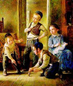 Elena Flerova - Dreidel I | Jewish Art Oil Painting Gallery