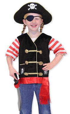 Kids' Pirate Costume Set: Dress up? Ay, matey! This swashbuckling set includes an embroidered vest, pirate hat, eye patch and soft sword. Perfect for Halloween or year-round pretend play!