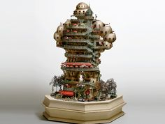 Takanori Aiba's Amazing Bonsai Tree Castles are Miniature Living Worlds. Where the Stay Puft Marshmellow Man goes when he retires.