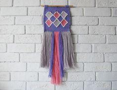 """Mini weaving wallhanding """"Geometry"""" twings woven wallart fiberart tapices loomweaving by weavinghouse on Etsy"""