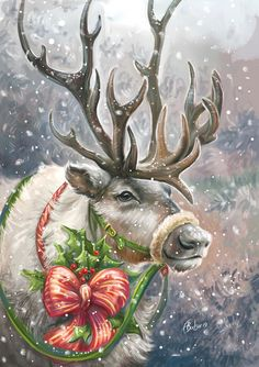 Celebrate Each New Day Christmas Scenes, Christmas Deer, Christmas Animals, Merry Christmas, Christmas Holidays, Xmas, Images Noêl Vintages, Images Vintage, Vintage Christmas Images