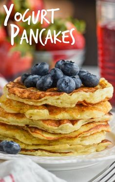 These Yogurt Pancakes are sure to become part of your brunch tradition. Easy, delicious, and so many different flavors to make them with! #ad @Yoplait