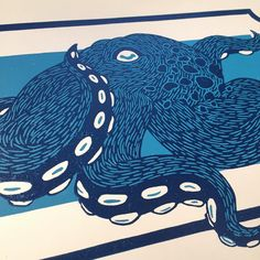 Back to printing and today it is blues! I'm hoping these we will dry in time for the Harvest Festival that is in two weeks. fingers crossed #linocut #linoprint #printmaking #blockprint #reliefprinting #octopus #tentacles #nautical #art #artwork #illustration