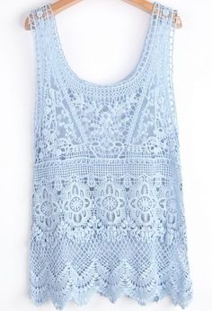 Blue Scoop Neck Sleeveless Lace Hollow Vest pictures