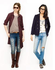 I like the jeans, stripes and the boots....is Madewell really trying to bring back Birkenstocks???