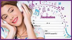 Invitation anniversaire Violetta l'héroïne de la série du même nom. L'invitation représente Violetta portant un casque audio sur un fond de notes de musiqu