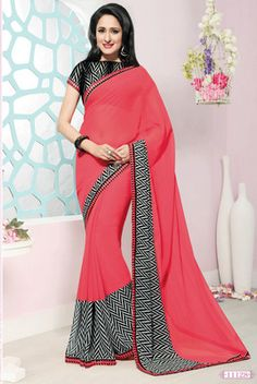 Pink printed georgette saree with blouse - Agrwalas - 443515 Latest Sarees, Georgette Sarees, Printed Sarees, Saree Collection, Sari, Brand New, Blouse, Pretty, Pink