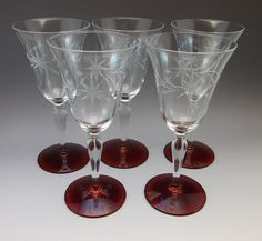5 Vtg Ruby Red Weston Louie Crystal Wine Goblet Goblets Bar Glasses Etched Star  #WestonLouie