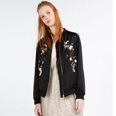 FO0006 Bomber Jacket Systemic Tree Flowers Embroidered – Fashion Secret Shop
