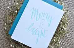 merry and bright letterpress holiday cards (set of 5). $15.00, via Etsy.