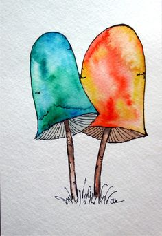 Watercolor art, original watercolor art, hand painted mushrooms, watercolor,  mushroom, , original artwork