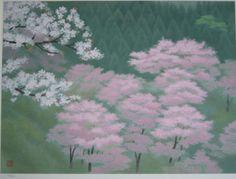 東山魁夷 Sakura Painting, Japanese Painting, Japanese Art Styles, Japanese Prints, Asian Flowers, Art Japonais, Spring Painting, Japan Art, Aesthetic Art