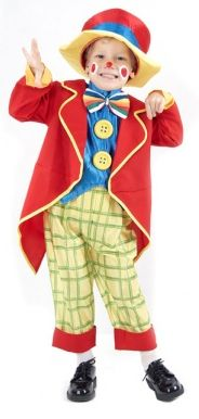 Product description: Clown costume for little boys Colorful Complete!  Little Clown costume for boys, consisting of a long red jacket, a shirt use with large buttons and sewn-on bow tie, a wide pants with elastic waist and a hat. (Shoes not inclu