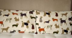 Pillowcase Orange dogs One Queen 30 x 20 inches dachsund poodle Scottie  great dane Throw pillow cushion covers UK designer fabric handmade. $60.00, via Etsy.