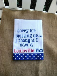 Embroidered burp cloth - Kentucky -Memphis-Louisville-Tennessee-you can name your team on Etsy, $16.00