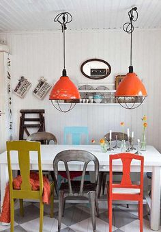 The Orange Pendant Lamp Of Mix And Match Eclectic Dining Rooms