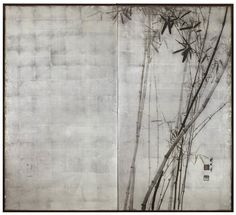 KIKUCHI Hōbun(菊池 芳文 Japanese, 1862-1918) A two-fold paper screen painted in ink on a silver ground with take (bamboo) Japan, 20th century Taisho period