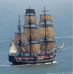 """NOT a """"Tall Ship """" that term refers to Clippers and Windjammers. - NOT a """"Tall Ship """" that term refers to Clippers and Windjammers. not every sailing ship. Poder Naval, Hms Bounty, Bateau Pirate, Old Sailing Ships, Ocean Sailing, Love Boat, Wooden Ship, Sail Away, Ship Art"""
