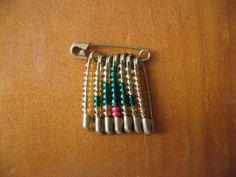 Beaded christmas tree saftey pin
