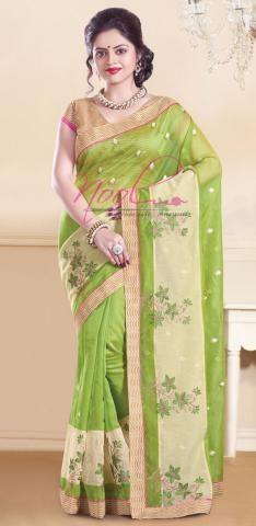 a828177cb7f030 Super Net Cotton Sarees Green Manipuri Printed Blouse BZ4735D73358