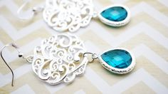 Earrings Silver filigree and Aquamarine Crystal by VerdigrisGifts, $19.00