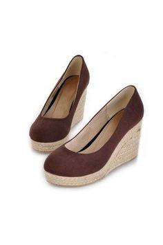 6ec4ebead0f6 Suede Upper Pure Color Close Toe Casual Wedges