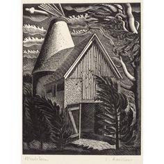 Full Windstorm ~ Artist:Eric Ravilious London 1903-1942  wood engraving on paper