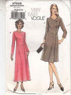 Vogue Misses A-line Dress 2 Lengths Sewing Pattern 7928 Size 18-24 Uncut