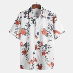ChArmkpR Mens Chinese Style Floral Printed Turn Down Collar Short Sleeve Casual Shirts is designer and cheap on Newchic. Half Sleeve Shirts, Loose Shirts, Floral Tops, Floral Prints, Chinese Style, Chinese Fashion, Collar Shirts, Men Shirts, Fitness Fashion