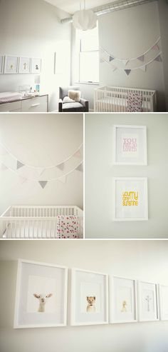 neutral nursery- I would want more motor but I love the crib and the portraits of animals