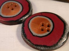 16-11-11 Set of 2 One-of-a-kind Handmade Round Buttons...