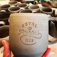 Sweet New custom mugs in the works for Petal and Pitchfork Farm @petalandpitchfork in Poulsbo! Stay tuned for the finished product, I'm glazing these this week. #mugshot #custommugs #handcrafted #handmade #artisanpottery #shoplocal #smallbusiness #smalltownliving #kitsap #poulsbo #indianola #pottery #potter #wheelthrownpottery Logo Mugs, Wheel Thrown Pottery, Pottery Mugs, Custom Mugs, Moscow Mule Mugs, Stay Tuned, Fern, Artisan, Tools